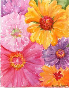 Original Pink Yellow and Purple Zinnias by SharonFosterArt on Etsy, via Etsy.
