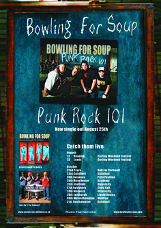 Bowling For Soup - Punk Rock 101 full page Kerrang ad. Client: Music For Nations. Circa 2003. © Sean Mowle.