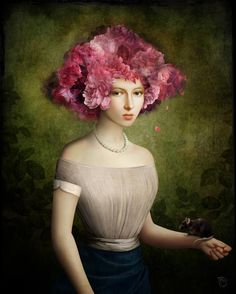 paintings of women and flowers - Christian Schloe