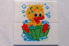 hama perler beads - Bathing duck by: Nina V. Kristensen