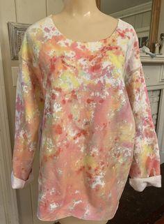 Size 2X Boho  Chic Hand Painted Wearable Art Tie Back Splash Paint Funky Big Pocket Tunic-Dress