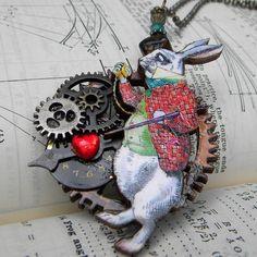 Necklace  STEAMPUNK   White Rabbit  A Wonderland
