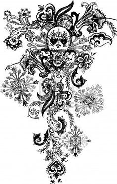 Paisley Skull Tattoo Royalty Free Cliparts, Vectors, And Stock Illustration. Image 4759655.