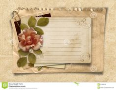 Vintage Background With Rose And Old Cards Royalty Free Stock ...