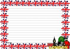 Flag of the UK sets of Lined paper and page borders  Download this pack for £3, here at:    https://www.tes.com/teaching-resource/flag-of-the-uk-themed-pack-11353528