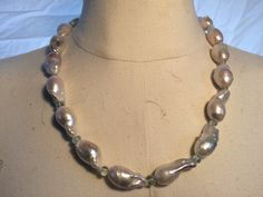 Baroque natural fresh water pearl and aquamarine necklace