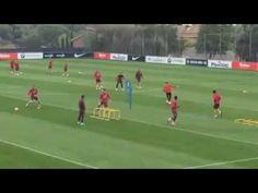 Circuito de futbol pases, saltos y coordinacion Atletico de madrid - YouTube