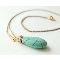 Wired Turquoise Tear Drop Necklace