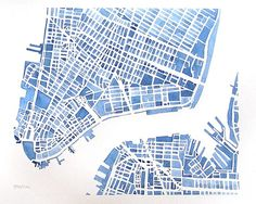 Downtown New York City Brooklyn City Map Watercolor 12x9 Modern blueprint Grid City Landscape  #maps #etsy $85