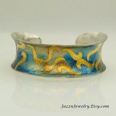 Silver and High Karat Gold Keum  Boo Cuff Bracelet by JazznJewelry