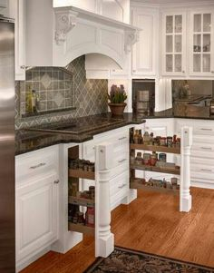 Great storage idea for spices, etc next to the cook top.