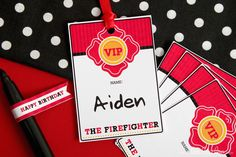 Fireman Birthday Party name tags.  To help keep the kids names straight.