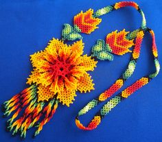 Mexican Huichol Beaded Flower Necklace by Aramara on Etsy Peyote Patterns, Beading Patterns, Collar Indio, Mexican Designs, Native American Beadwork, Flower Necklace, Beaded Flowers, Bead Art, Bead Weaving