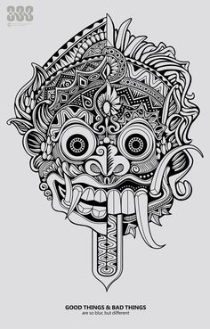 good things and bad things sometimes are so blur, but different actually. right side is Barong (indonesian good wayang character) and left side is Rang. good things and bad things Tattoo Drawings, Art Drawings, Tattoo Art, Hannya Tattoo, Tattoo Bein, Demon Tattoo, Mask Drawing, Indonesian Art, Aztec Art