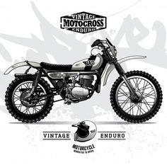 57 Ideas Retro Bike Illustration Cafe Racers For 2019 Enduro Vintage, Vintage Motocross, Vintage Motorcycles, Custom Motorcycles, Enduro Motorcycle, Motorcycle Posters, Scrambler Motorcycle, Motorcycle Types, Bike Storage Design