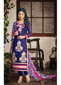 Party wear Blue Georgette Salwar suit - 2001
