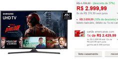 "Smart TV 50"" Samsung UN50KU6000GXZD Ultra HD 4K HDR com Conversor Digital 3 HDMI 2 USB 120Hz << R$ 269999 >>"