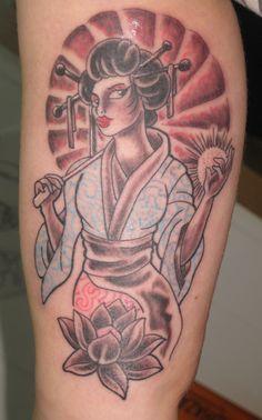 geisha lotus flower  irish street tattoo downpatrick belfast northern ireland