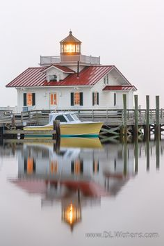 Lighthouse - title Foggy Reflection - Roanoke Marshes Lighthouse in the fog on the Outer Banks of North Carolina. - photography by DL Waters North Carolina Lighthouses, North Carolina Homes, Carolina Usa, Marine Lighting, Lighthouse Photos, Le Moulin, Belle Photo, Vacation Spots, New England