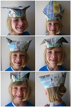 Newspaper Hats, my Grandpa used to make these for us