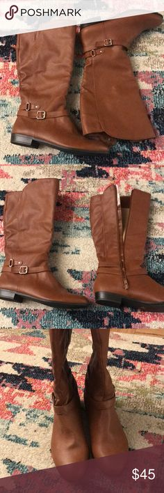 Tan boots with gold buckle accent Below the knee. Small heel. Great condition! Size 8 Shoes Heeled Boots