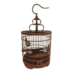 Chinese carved bamboo wood bird cage features a brass hook attached by screw which holds the double carved crest. Vintage Furniture Design, Art Deco Furniture, Modern Furniture, Bird Cage Centerpiece, Wood Bird, Bird Cages, Garden Ornaments, Antique Shops, Shabby Chic Decor