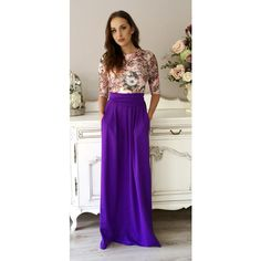 Purple Flowers Print Maxi Women's Dress 3/4 Sleeves Pockets ($85) ❤ liked on Polyvore featuring plus size women's fashion, plus size clothing, plus size dresses, dresses, purple, women's clothing, floral cocktail dresses, long sleeve floral dress, floral maxi dress and long sleeve dresses