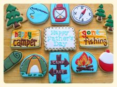 Camping and Fishing Assortment Summer Cookies, Cookies For Kids, Cut Out Cookies, Cute Cookies, Holiday Cookies, Cupcake Cookies, Cupcakes, Fish Cookies, Iced Cookies