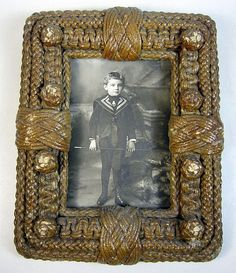 Antique 19th Century Nautical Sailor Knot Rope Monkey Fist Picture Frame.
