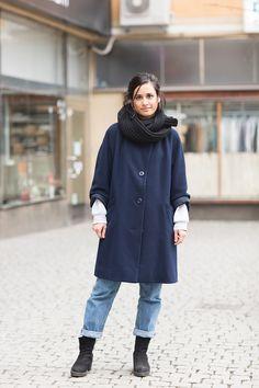 scarf + hoop earrings + wool coat + jeans + black booties