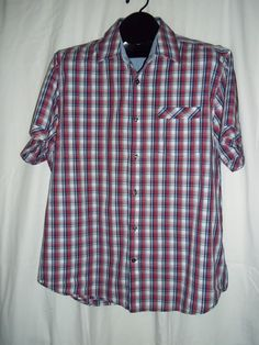 James Campbell Red White Blue Plaid Short Sleeve Shirt Size: XL #JamesCampbell #ButtonFront