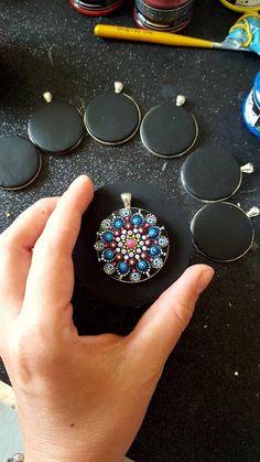 Mandala Flower Pendant polymer clay in the pendant resin | Etsy