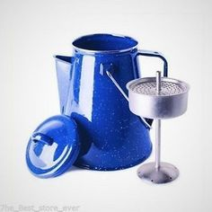 BLUE ENAMEL PERCOLATOR COFFEE POT CUP SET OUTDOOR CAMPING GEAR RV FIRE PIT MAKER