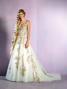 Gold and ivory Rapunzel inspired wedding dress - 2016 Disney's Fairy Tale Weddings by Alfred Angelo Collection