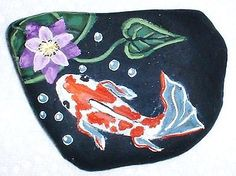 """Koi Fish """"Pond"""" with Purple Waterlily Painted Rock Signed Vivian Allen 