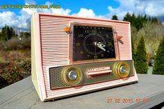 Powder Pink Retro Jetsons Vintage 1957 RCA Victor Model 1-RD-63 AM Tube Clock Radio Totally Restored! by RetroRadioFarm on Etsy
