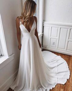White Chiffon Lace Long Prom Dress with V-Neck Evening Dress ., White chiffon lace long prom dress with v-neck evening dress. Cheap Formal Gowns, Cheap Evening Dresses, Elegant Dresses, Evening Gowns, White Formal Dresses, White Gowns, Pretty Dresses, Western Wedding Dresses, Wedding Dress Trends