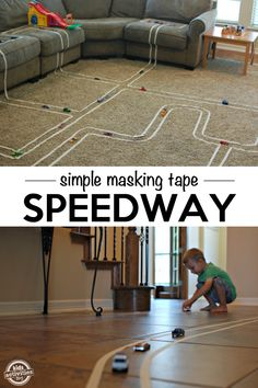 Build a Track with Masking Tape Car Activities, Indoor Activities For Kids, Toddler Activities, Games For Kids, Diy For Kids, Crafts For Kids, Indoor Games, Kids Fun, Summer Activities