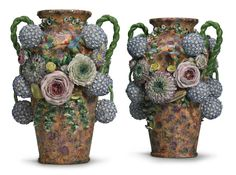 A pair of Jacob Petit porcelain flower-encrusted vases century Ancient Artefacts, Old Paris, May Flowers, Vases Decor, Candlesticks, 19th Century, Modern Art, Objects, Pottery