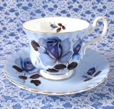 Blue Rose Cup And Saucer Royal Albert English Bone China 1950s #afternoontea #teatime #AntiquesAndTeacups