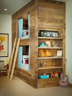 Rustic Bunks...  Love how the kids can have a little privacy with the curtains and sides closed off.  If it's a little too much privacy for your liking, then it just doesn't have to be included.