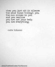 When you sit in silence the wind blows through you.... Anita Krizzan. quotes