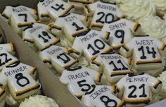 Hockey cookies! These would be so cute for bridal shower favors with kyle's last name on them