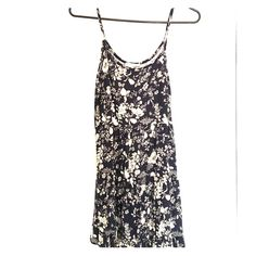 Summer dress in navy Cotton floral print spaghetti strap dress Miss Daisy Dresses Mini