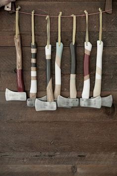 Hanging Painted Axes, Remodelista -★-  This makes me think of Raif