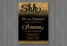 Gold and Black Glitter Bling Birthday Surprise by my3sweetcheeks