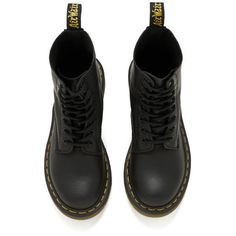 Dr. Martens Women's Core Pascal 8-Eye Virginia Leather Boots featuring polyvore, fashion, shoes, boots, lace up boots, real leather boots, laced up boots, lacing boots and leather flat shoes