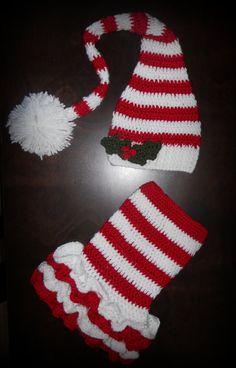 Christmas Crochet Elf Tutu Dress & Matching Hat Baby Handmade Photo Prop, X-mas via Etsy $55