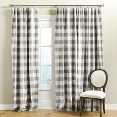 Ballard Designs Buffalo Check Drapery Panel ($109) ❤ liked on Polyvore featuring home, home decor, window treatments, curtains, rod pocket curtains, tab curtains, ballard designs, buffalo check curtains and buffalo plaid curtains
