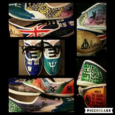 """So I painted some shoes and thought they turned out fun! They include most of my fandoms including Sherlock, My obsession with Britain, How to Train Your Dragon, Harry Potter, Doctor Who, Percy Jackson, The Walking Dead, The Mortal Instruments, Merlin, The Maze Runner, and The Hunger Games! (The merlin one is hard to see but it has Arthurs crown and Merlin's scarf with the quote """"two sides of the same coin"""" and the sword and druid symbol.)"""